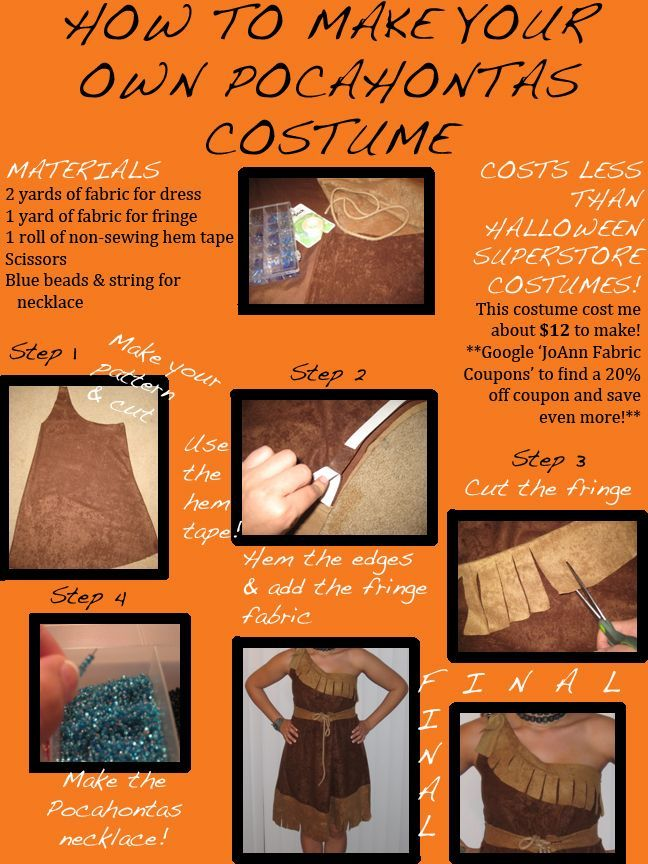 How To Make Your Own Pocahontas Costume. Guess who I am going to be next year? :3: