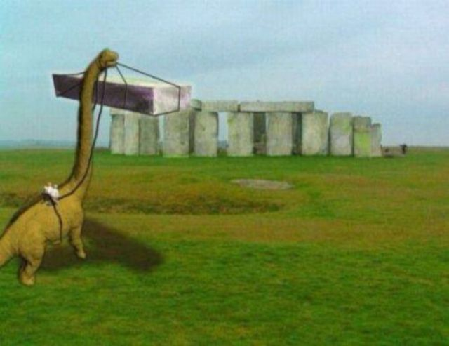 """Want to Giggle Like a Giganotosaurus? Check Out These Dinosaur Memes: """"How Stonehenge Was Really Built"""""""