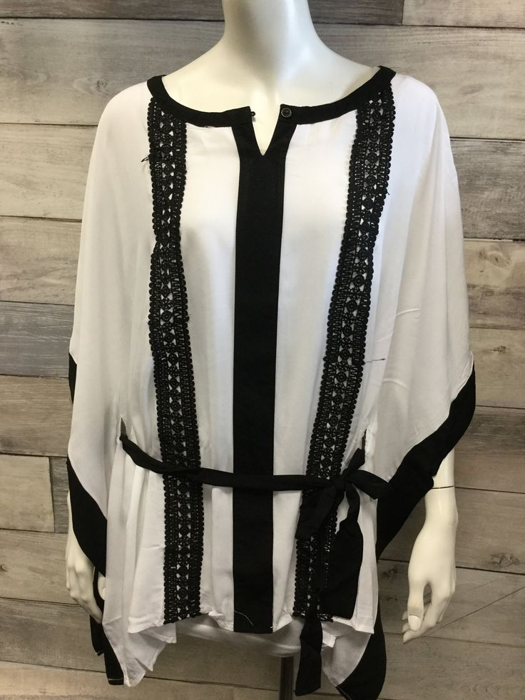 White and Black Tie Waist Plus Size Smock Top