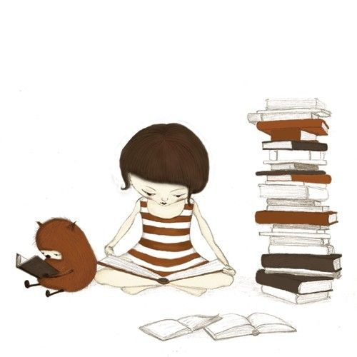 The reader - Little girl reading books with her furry orange friend