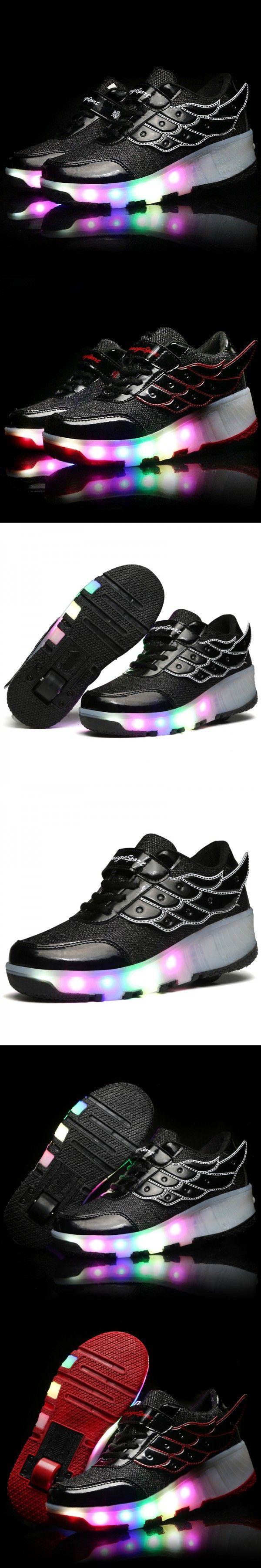 Roller skate shoes size 10 - 2016 Brands Hot New Arrived Children Shoes Girls Boys Wing Led Light Sneakers Shoes With Wheel Kids Roller Skate Shoes