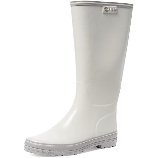 Aigle Venise Rubber Rain Boot ($89) ❤ liked on Polyvore featuring shoes, boots, white, small heel shoes, small heel boots, low heel boots, wellington rubber boots and white shoes