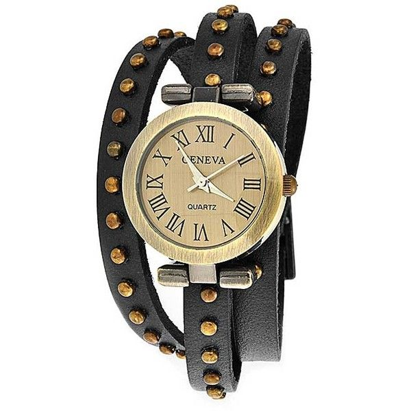 Bling Jewelry Punk Wrap Watch ($13) ❤ liked on Polyvore featuring jewelry, watches, bracelets, accessories, black, black studded bracelet, black wrist watch, bracelet watches, wrap watch and black watches