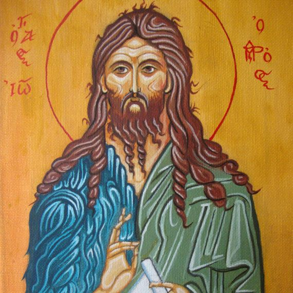 Saint John The Baptist- Prodromos - The Forerunner - Original Hand Painted Greek  Religious Icon On Canvas 18x25cm FREE SHIPPING on Etsy, 49,00€