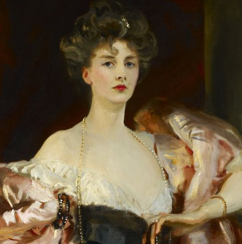 Detail from John Singer Sargent's incredible portraits of: Lady Helen Vincent, Viscountess d'Abernon (1904),