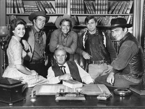 THE VIRGINIAN, Lee Cobb, Roberta Shore, Clu Galager, Doug McClure, Randy Boone, James Drury, 60's, TV