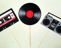 80's Party Mittelstücke, Cassette Tape Mittelpunkt, Record Herzstück, Boom-Box Centerpiec, 80's Geburtstag Dekorationen