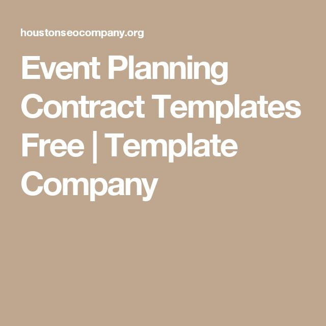 Event Planning Contract Templates Free | Template Company