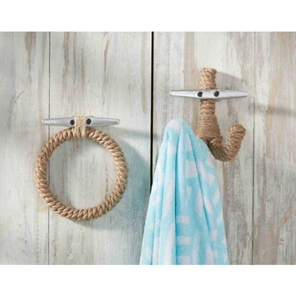 rope wall hooks at seasideinspiredcom beach ocean home decor - Ocean Home Decor