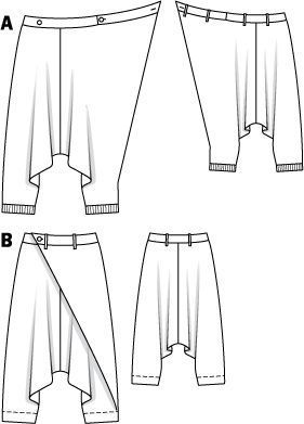 Schnittmuster: Haremshose - asymmetrisch - Sarouelhosen - Hosen - Damen - burda style www.sewingavenue.com