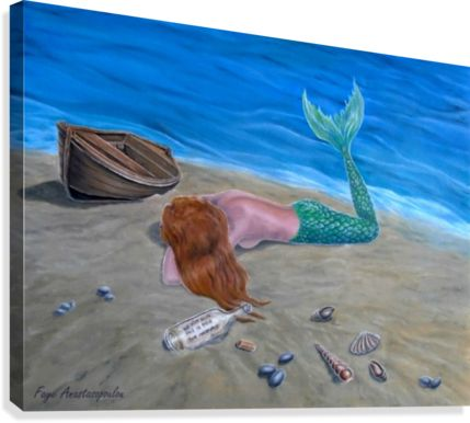 Canvas Print, mermaid,painting,coastal,scene,aquatic,creature,seascape,message in a bottle, bottle, letter, note, fairy tale, mythical, mythological, legendary, fantasy, lying, sleeping, by the, sea, on the, shore, ashore, nautical, marine, summer, water, nude, feminine, pose, long, hair, sand, sandy, beach, tail, fin, wooden, boat, imagination, fantasylike, contemporary, realism, igurative,blue,fine,oil,wall,art,images,home,office,decor,artwork,modern,items,ideas,for sale,pictorem