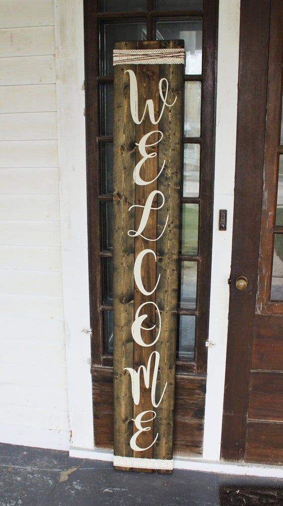 Wooden Dark Stained Welcome Sign For The Front Porch Vertical Tall Patio Outdoor Rustic Farmhouse Door Housewarming Gift Entryway Home Welcome Signs Front Door Front Porch Decorating Patio Signs