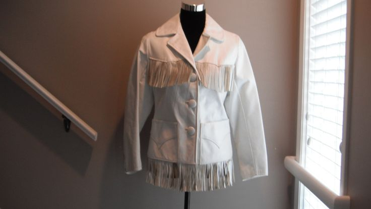 Woman's White Leather Jacket With Fringe by Saltofmotherearth on Etsy