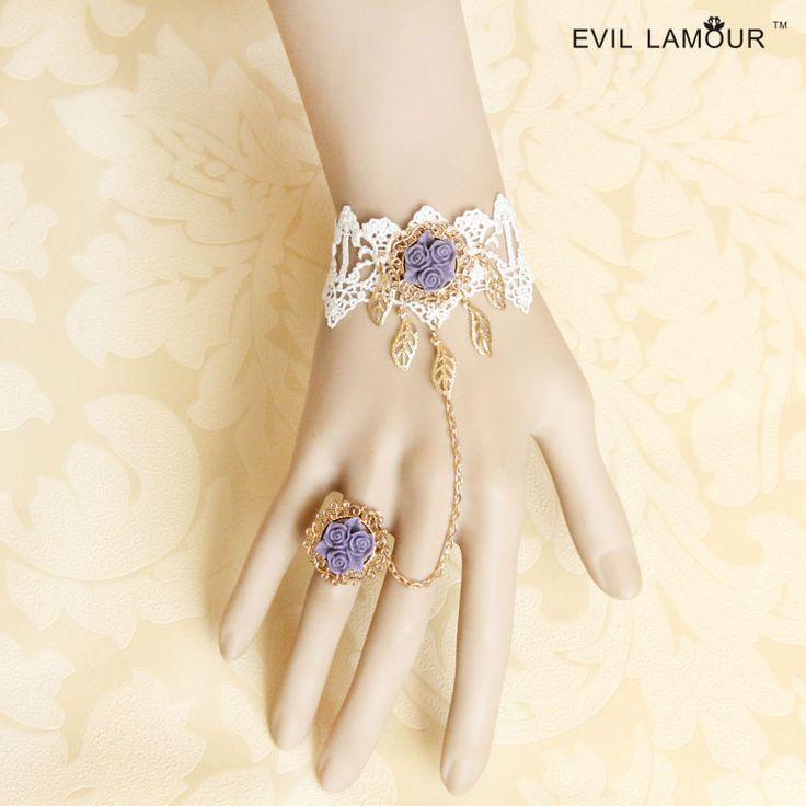 Принцесса сладкий лолита браслет Свадьбы невеста браслет с фиолетовым розы ер ен ос один кусок цепи женские белые кружева ручной работы ювелирные изделия