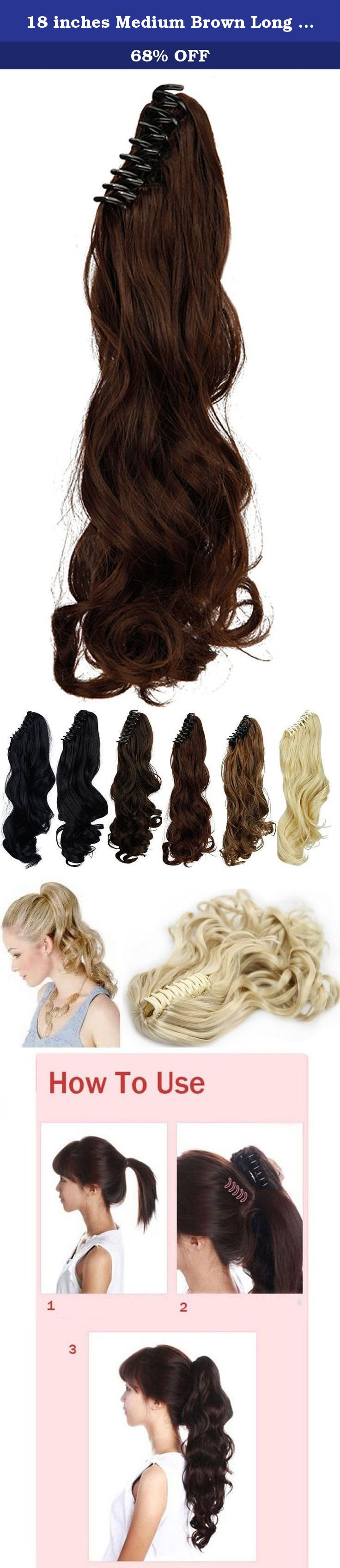 18 inches Medium Brown Long Wave Claw Clip on Ponytail Hair Extensions Hairpiece Pony Tail Extension for Girl Lady Women. This is a one piece claw clip on ponytail hair extensions made from premium synthetic fibres, lovely style. The claw is easy to use, and can secure hold the item to your hair. You can fit them yourself in the mirror, and have them in and a new style ready to go in minutes. This item is ideal for changing your look to your current style. Colors: Many Colors available. (...