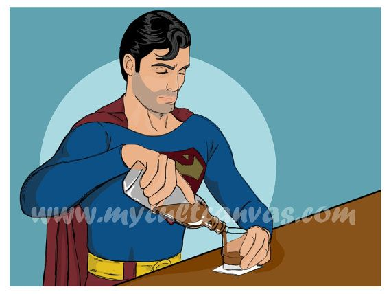 Original Superman Drinking Art Print Bar Sign by RedPandaDesigns, $19.00