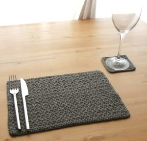 Placemat & Coaster Set  Must find a way to knit these :) Maybe with some really chunky yarn :)