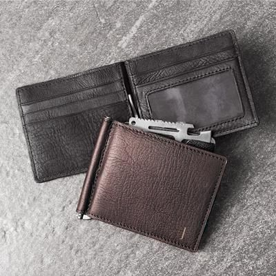 Personalized RFID Leather Wallet with Money Clip & Multi-function Tool