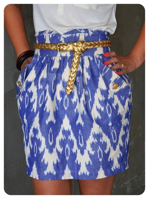 """Preppy skirt with gold belt. """"higher"""" waisted with a top tucked in. and a hem just above the knees. so so cute."""
