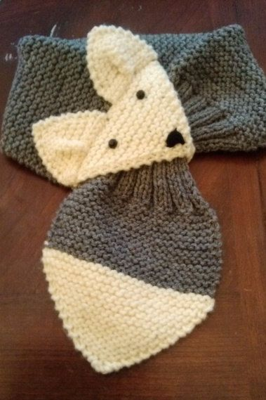 Kids or Adult Adjustable Fox Scarf, gray, hand knit neck warmer