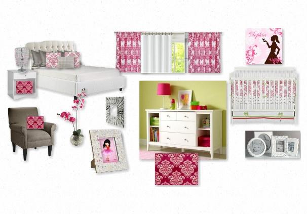 baby girl's lily pink damask nursery
