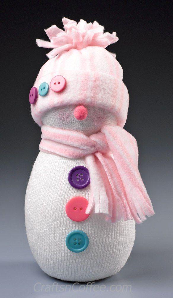The cutest sock snowman! Easy DIY on CraftsnCoffee.com.                                                                                                                                                                                 Plus