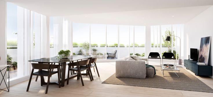 pure hampton living room open plan bayside apartment