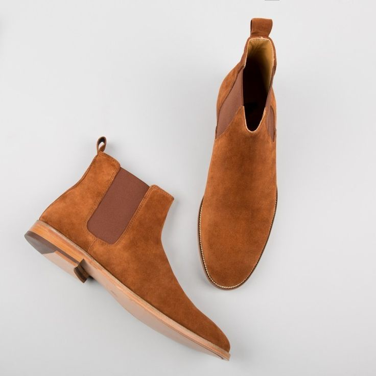 Handmade men tan boots, suede leather boot for men, men chelsea dress boots - Boots