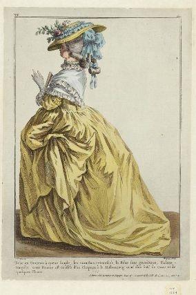 """""""Robe en Foureau à queue simple, les manches retroussée, la Robe sans garnitures, Fichue-Mantelet.  Cette Femme est Coëffée dun Chapeau à la Marlboroug orné d'un frisé de Gaze et de quelques Fleurs"""", Gallerie des Modes, 1784; MFA 44.1584"""