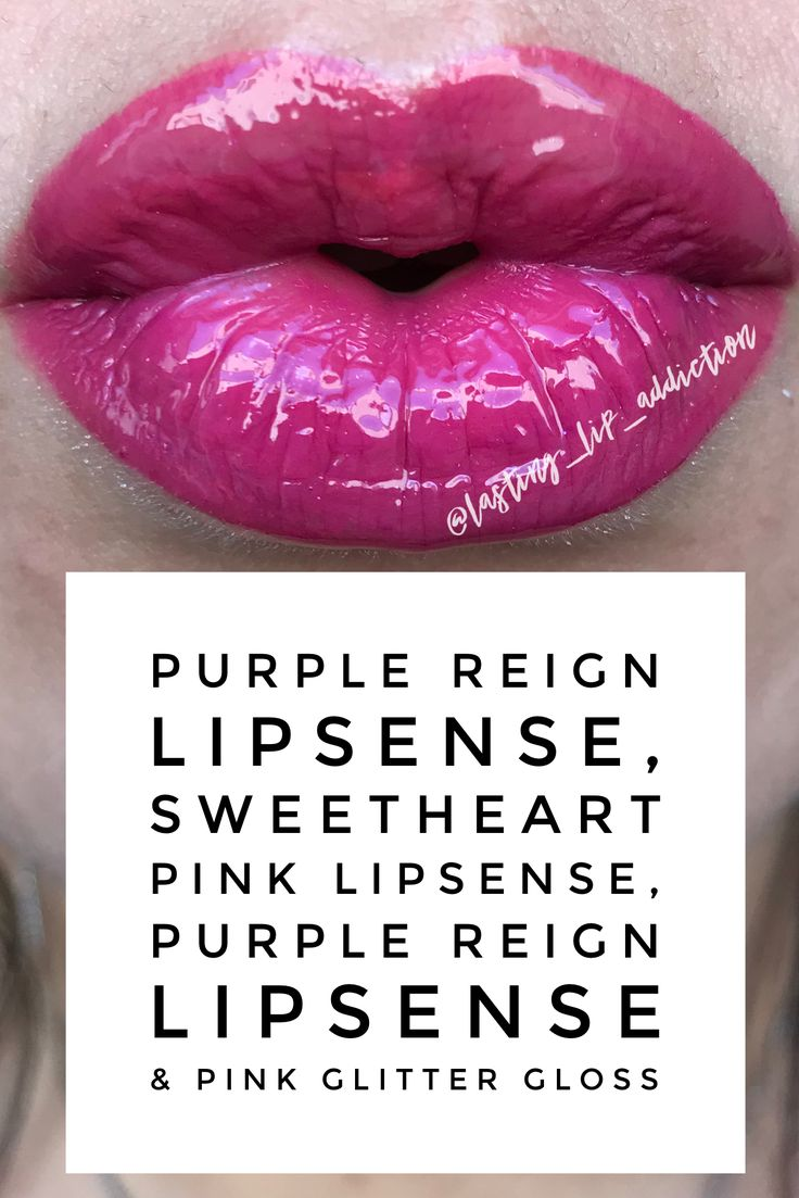 Layered Purple Reign LipSense, Sweetheart Pink LipSense, Purple Reign LipSense topped with Pink Glitter Gloss. @Lasting_Lip_Addiction