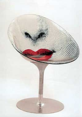 Eros: Prototype of Philippe Starck chair for Kartell with an intervention by Fornasetti.