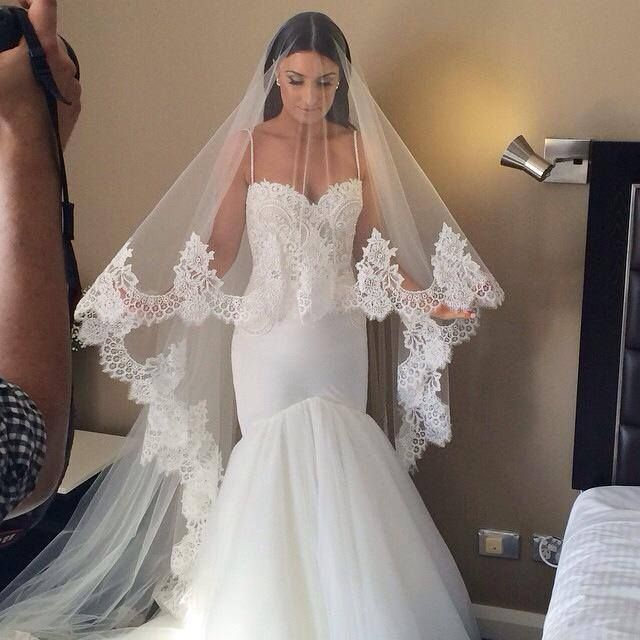 The perfect veil!!! Cathedral length with blusher with Spanish lace.                                                                                                                                                      More