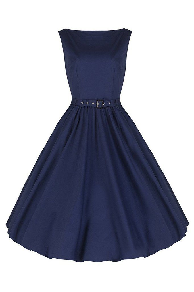 Navy Blue Cotton Audrey Swing Dress