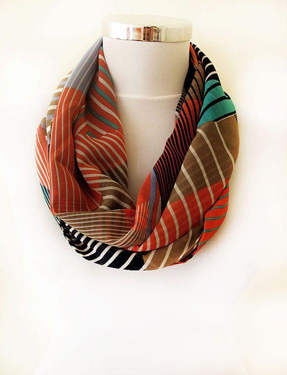 infinity scarf multi color Aztec Print color block by aynurdereli, $27.00