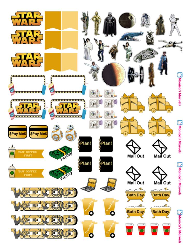 """sticker kit"" Star Wars functional sheet(the happy planner by MAMBI) sticker. Free printable sticker layout may be subject to copyright not intended for retail; personal use only"