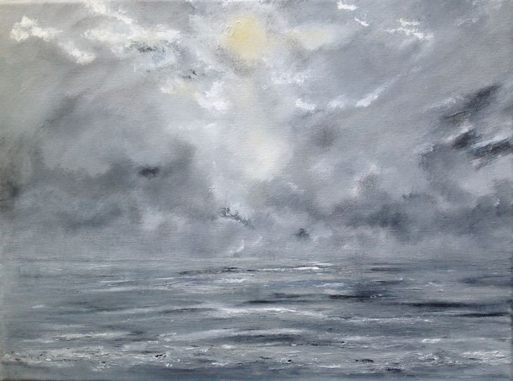 Buy Misty Moonlit Sea, Acrylic painting by Tina  Hiles on Artfinder. Discover…