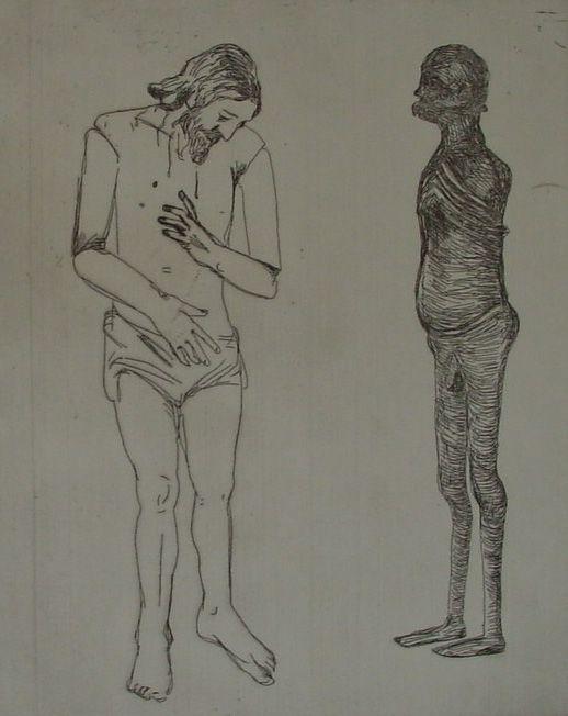 Claudette Schreuders, 'Untitled (Naked Man & Shadow), 2001, Drypoint.