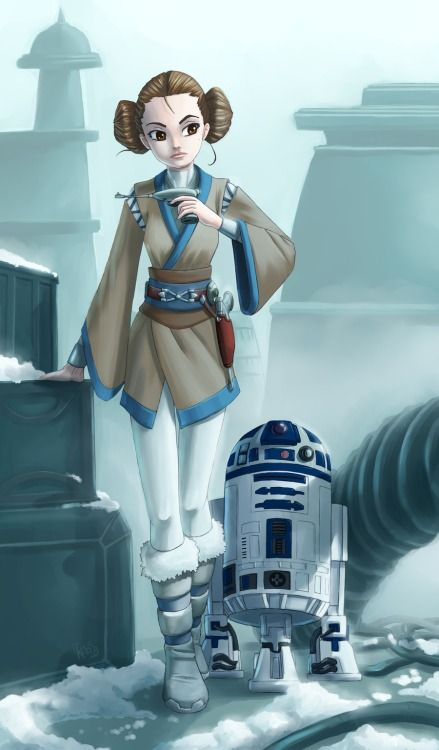 Padme Amidala and R2-D2 by Vredin0a