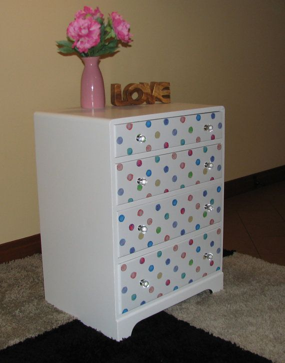 Chest of drawers white with watercolour polka dot design