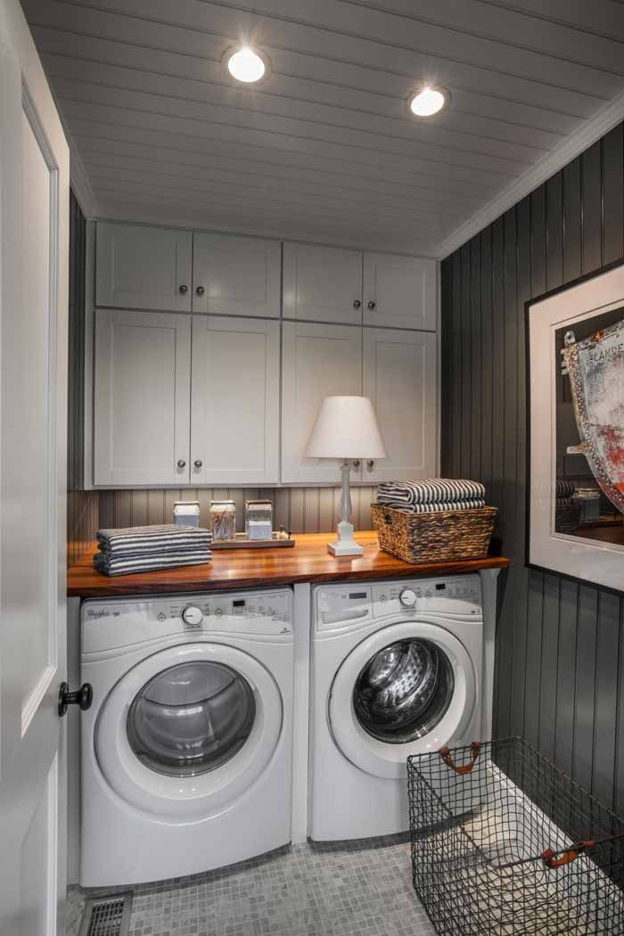 Tour The Martha's Vineyard HGTV Dream Home, 2015 Love the wall paint and cabinets. Art work in a laundry room is update touch to deco.