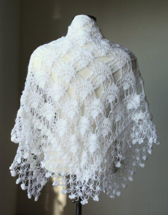 White Crochet Shawl  Wedding Shawl  Winter by MODAcrochet on Etsy, $75.00