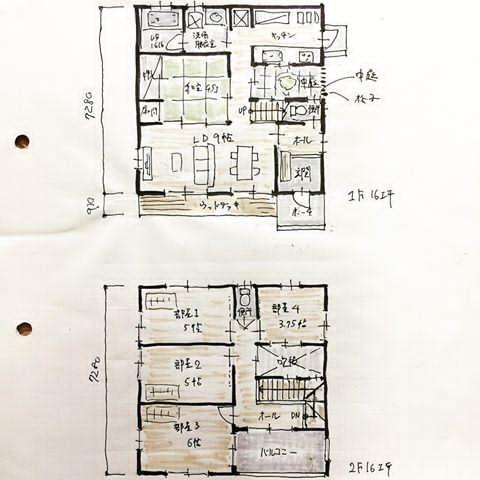 『32坪の間取り』 32坪の中にLDKと和室と部屋4つと中庭とインナーバルコニーを無理やり詰め込んだ間取りです。 収納は部屋のどれかを使ってください。 中庭の上は吹抜けていてその上の屋根が空いている感じです。 LDが若干狭いので和室を活用する方向性。 キッチンの前がプチ中庭になっているので調理しながらプチ中庭の景色が見れます。 32坪〜詰め込めば〜。 #間取り#間取り図 #間取り図大好き #間取り萌え #間取りフェチ #間取りマニア#間取り集 #マイホーム#家づくり#新築計画#住まい#ライフスタイル#和室付き間取り#5ldk#お家#暮らし#floorplan#japanese#instagood
