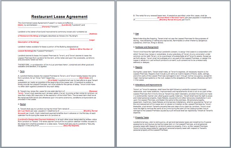 Restaurant Lease Agreement Template business templates - lease agreement printable