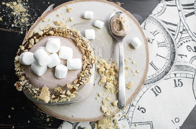S'more Fluff....The delicious chocolate pudding, airy Cool Whip, and mini marshmallows come together to create a dessert that will be an instant winner with the kids.
