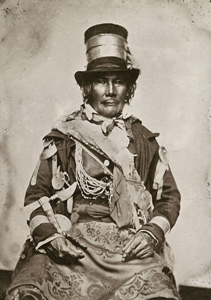 Chief Oshawana or John Naudee (? - after 1836) was Tecumseh's chief warrior at the battle of the River Thames in the War of 1812.  As an Anishnaabe warrior in Tecumseh's coalition, Oshawana embodies the struggle of Native Americans for their land and their identity. Oshawana continued after the war to negotiate for Native American rights as an Ojibwa chief.