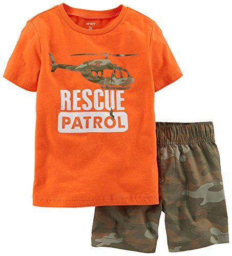 Carters Baby Boys Rescue Patrol Camo Shorts Set 9 Month Orangegreen *** Want additional info? Click on the image.