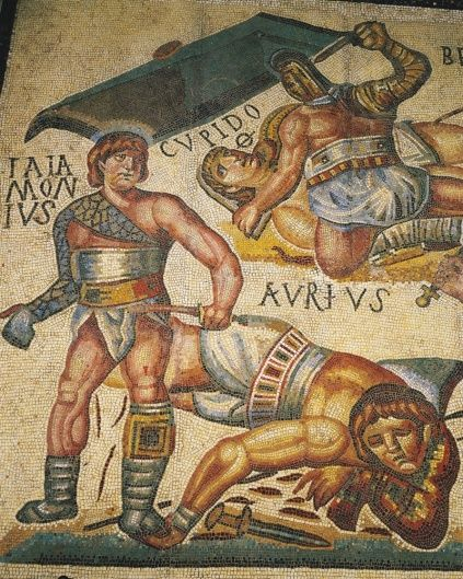 Though this mosaic from Terranova in Italy (left) shows gladiators dispatching their opponents, evidence suggests that defeated fighters were often given a reprieve. (Bridgeman Art Library)