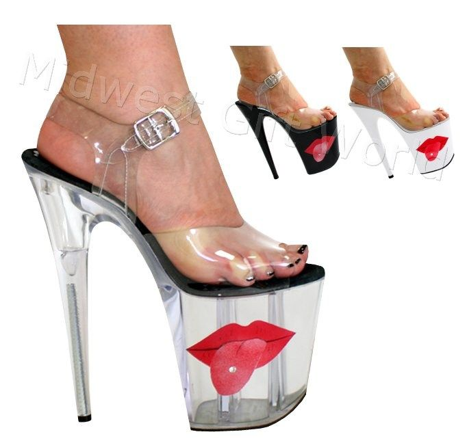 """7""""or 8"""" Karo's Tongue w/Rhinestone Ankle Strap Stripper Shoes on a High Heel Platform - Sizes 5-12. #3105   Expertly handcrafted. Ships worldwide. FREE U.S. shipping!"""