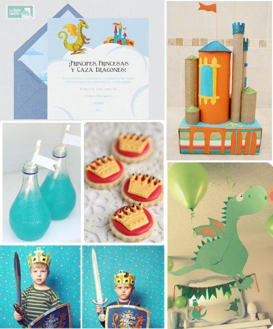 de cumpleaos infantil para fiesta de dragones princesas y principes