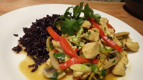 Green Thai Chicken Curry with Forbidden Black Rice.